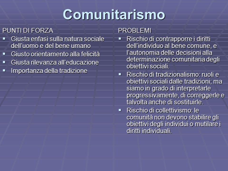 Comunitarismo PUNTI DI FORZA Giusta enfasi sulla natura sociale delluomo e del bene umano Giusta enfasi sulla natura sociale delluomo e del bene umano