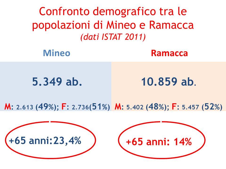 Confronto demografico tra le popolazioni di Mineo e Ramacca (dati ISTAT 2011) Mineo 5.349 ab. M : 2.613 ( 49 %); F : 2.736 ( 51 %) +65 anni:23,4% Rama