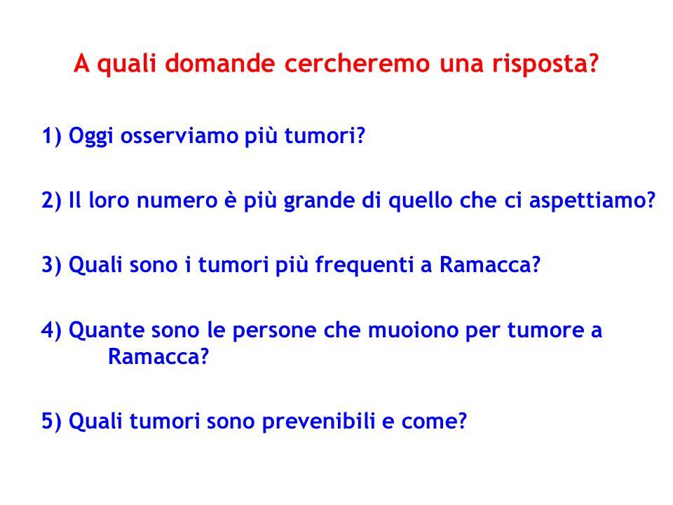 A quali domande cercheremo una risposta? 1) Oggi osserviamo più tumori? 2) Il loro numero è più grande di quello che ci aspettiamo? 3) Quali sono i tu