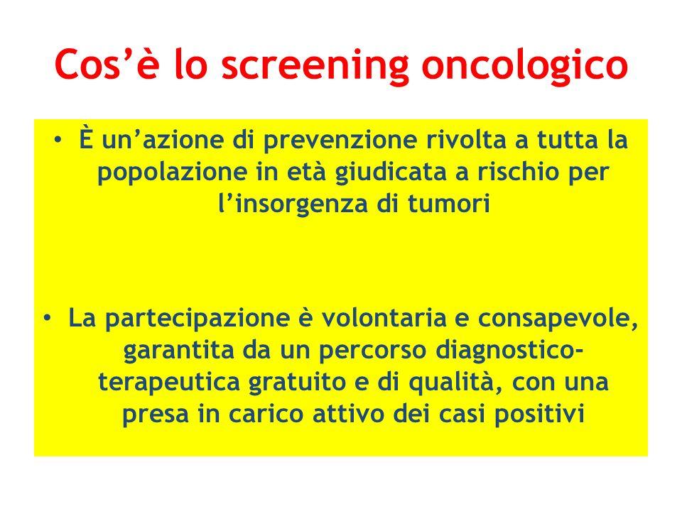 Cosè lo screening oncologico È unazione di prevenzione rivolta a tutta la popolazione in età giudicata a rischio per linsorgenza di tumori La partecip