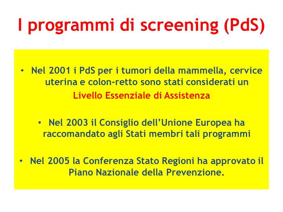 I programmi di screening (PdS) Nel 2001 i PdS per i tumori della mammella, cervice uterina e colon-retto sono stati considerati un Livello Essenziale