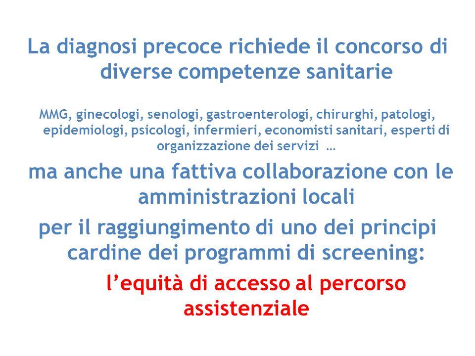 La diagnosi precoce richiede il concorso di diverse competenze sanitarie MMG, ginecologi, senologi, gastroenterologi, chirurghi, patologi, epidemiolog