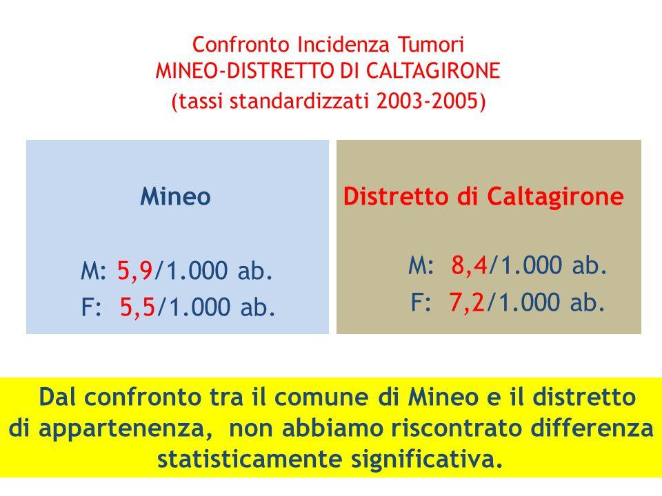 Confronto Incidenza Tumori MINEO-DISTRETTO DI CALTAGIRONE (tassi standardizzati 2003-2005) Mineo M: 5,9/1.000 ab. F: 5,5/1.000 ab. Distretto di Caltag
