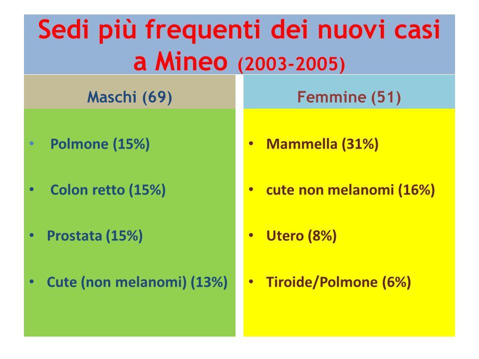 Sedi più frequenti dei nuovi casi a Mineo (2003-2005) Maschi (69) Polmone (15%) Colon retto (15%) Prostata (15%) Cute (non melanomi) (13%) Femmine (51