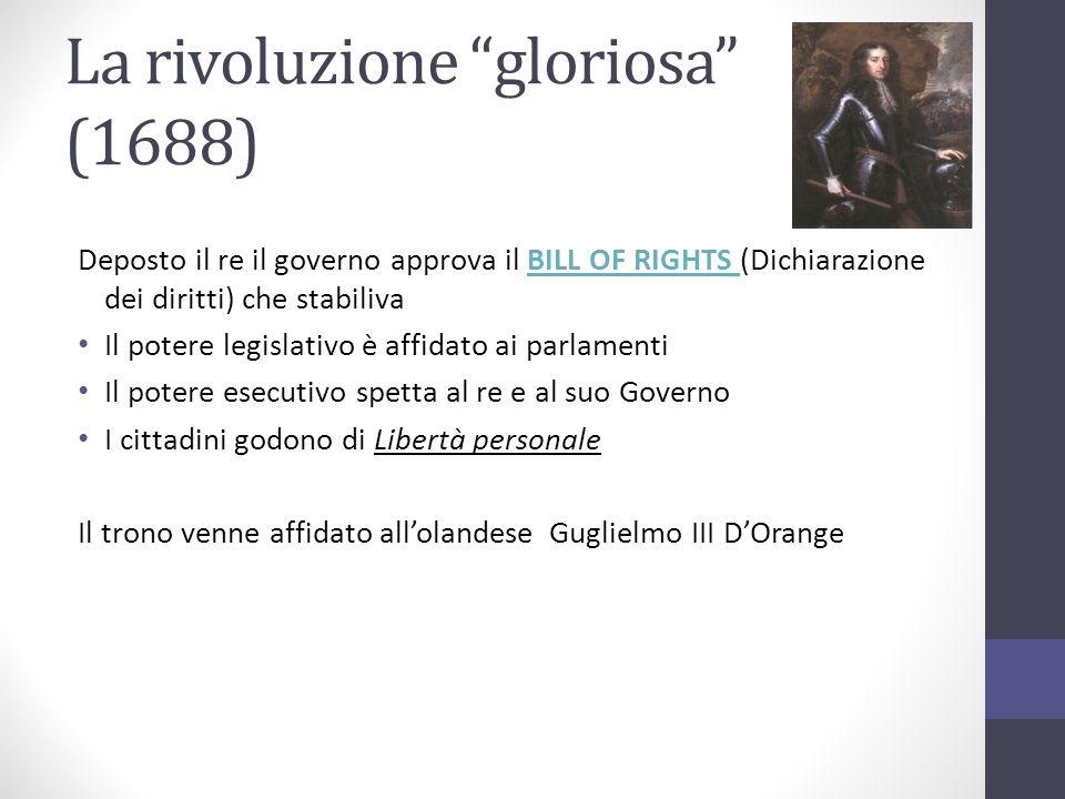 La rivoluzione gloriosa (1688) Deposto il re il governo approva il BILL OF RIGHTS (Dichiarazione dei diritti) che stabilivaBILL OF RIGHTS Il potere le