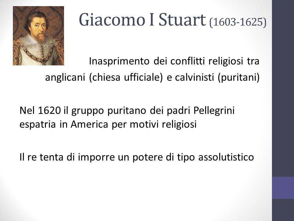 Giacomo I Stuart (1603-1625) Inasprimento dei conflitti religiosi tra anglicani (chiesa ufficiale) e calvinisti (puritani) Nel 1620 il gruppo puritano