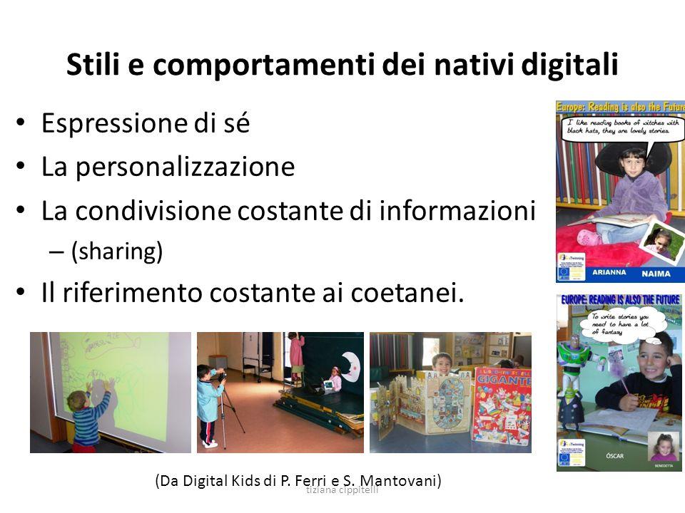 Stili e comportamenti dei nativi digitali Espressione di sé La personalizzazione La condivisione costante di informazioni – (sharing) Il riferimento c