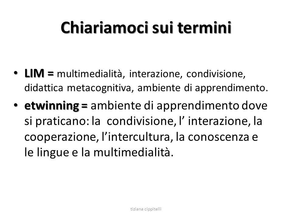 Chiariamoci sui termini LIM = LIM = multimedialità, interazione, condivisione, didattica metacognitiva, ambiente di apprendimento. etwinning = etwinni