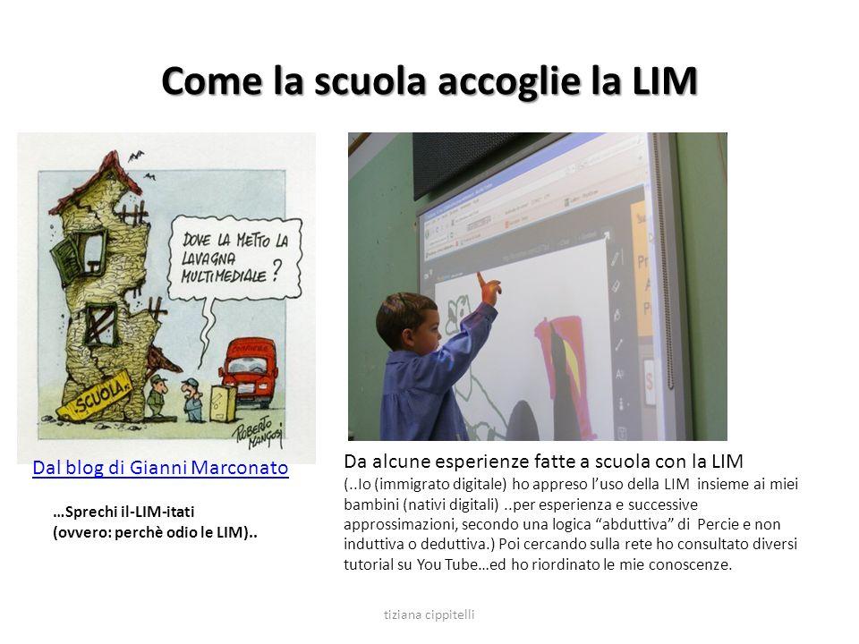 Come la scuola accoglie la LIM Dal blog di Gianni Marconato Da alcune esperienze fatte a scuola con la LIM (..Io (immigrato digitale) ho appreso luso