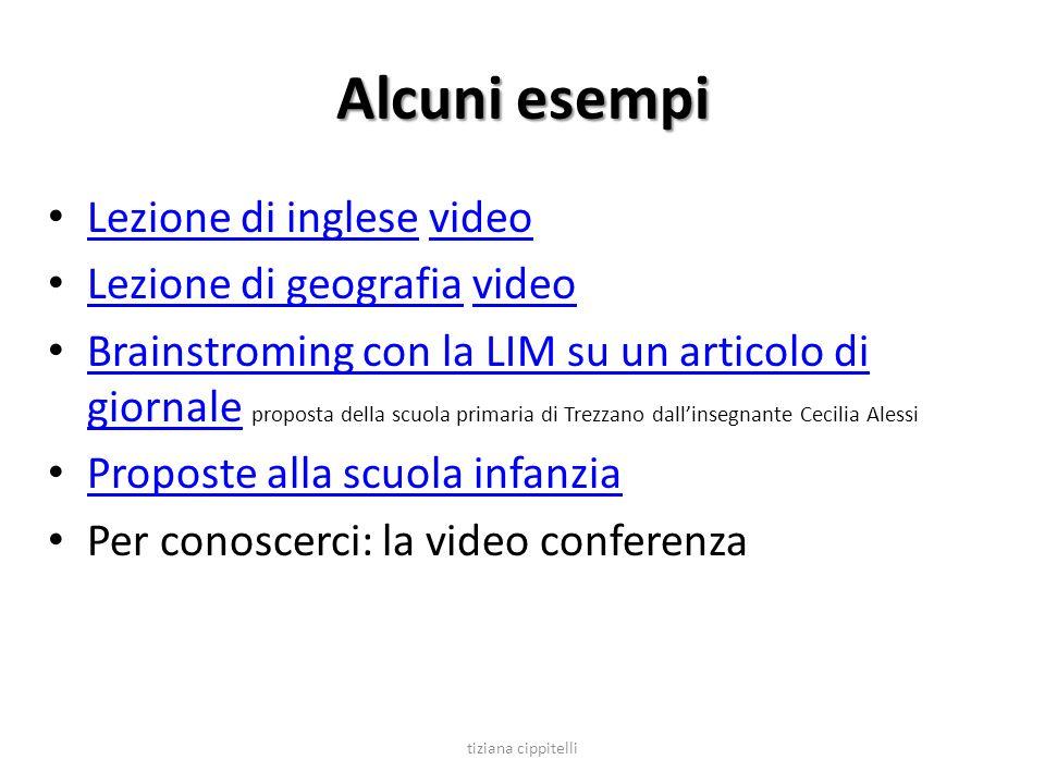 Alcuni esempi Lezione di inglese video Lezione di inglesevideo Lezione di geografia video Lezione di geografiavideo Brainstroming con la LIM su un art
