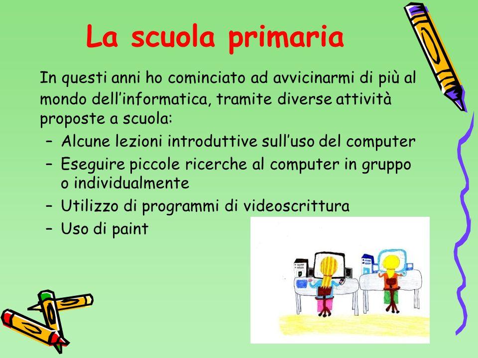 La scuola primaria In questi anni ho cominciato ad avvicinarmi di più al mondo dellinformatica, tramite diverse attività proposte a scuola: –Alcune le
