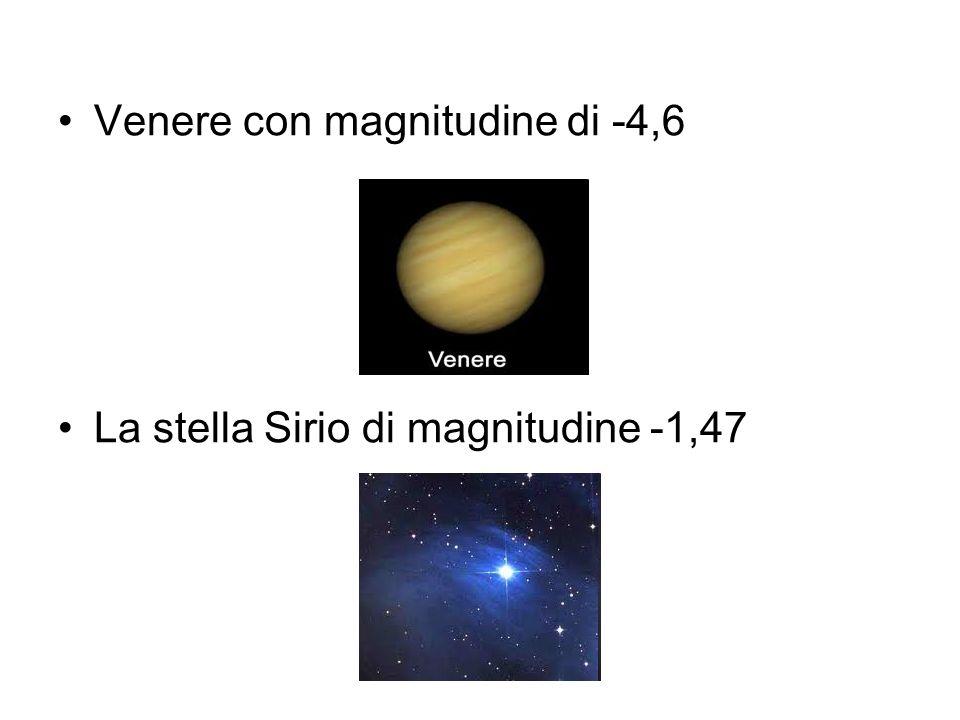 Venere con magnitudine di -4,6 La stella Sirio di magnitudine -1,47