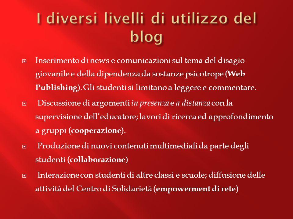 Inserimento di news e comunicazioni sul tema del disagio giovanile e della dipendenza da sostanze psicotrope ( Web Publishing ).