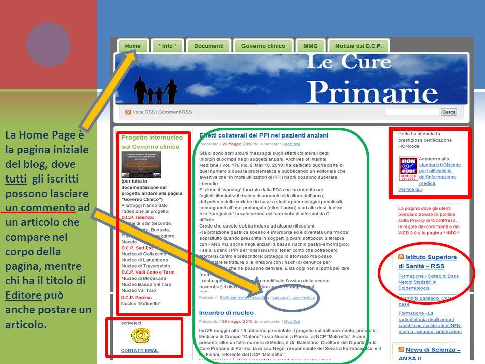 La Home Page è la pagina iniziale del blog, dove tutti gli iscritti possono lasciare un commento ad un articolo che compare nel corpo della pagina, me