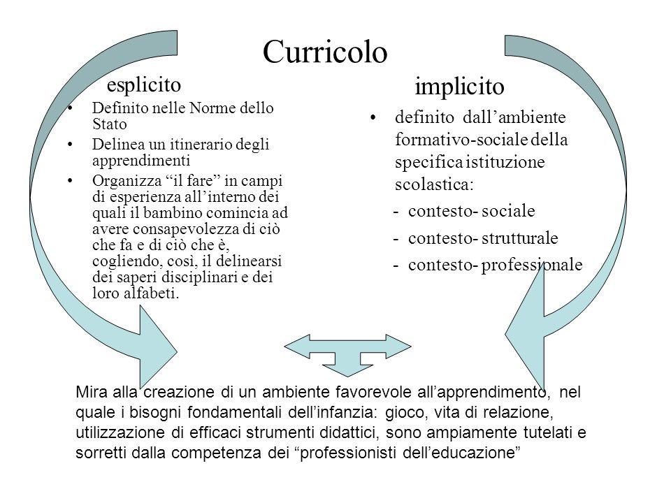 Curricolo esplicito Definito nelle Norme dello Stato Delinea un itinerario degli apprendimenti Organizza il fare in campi di esperienza allinterno dei