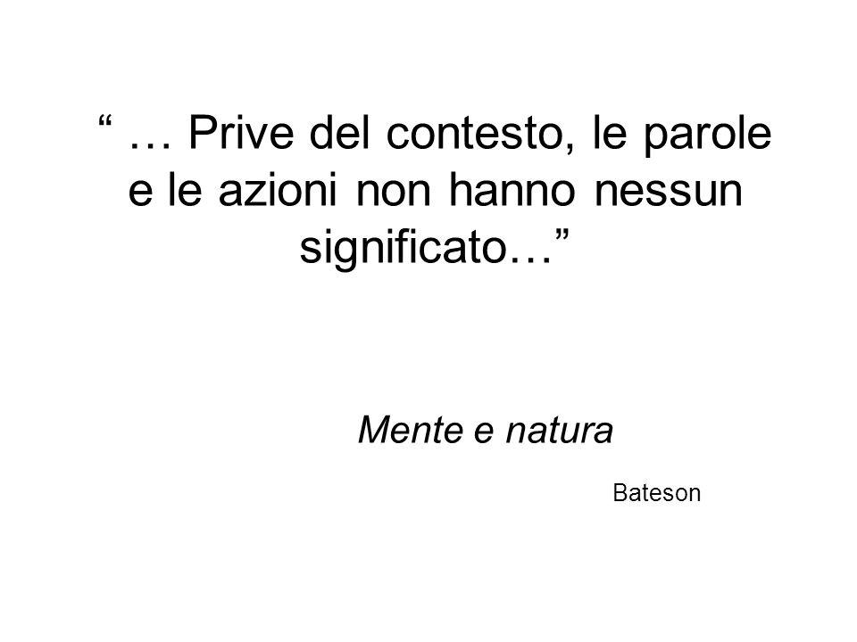 … Prive del contesto, le parole e le azioni non hanno nessun significato… Mente e natura Bateson