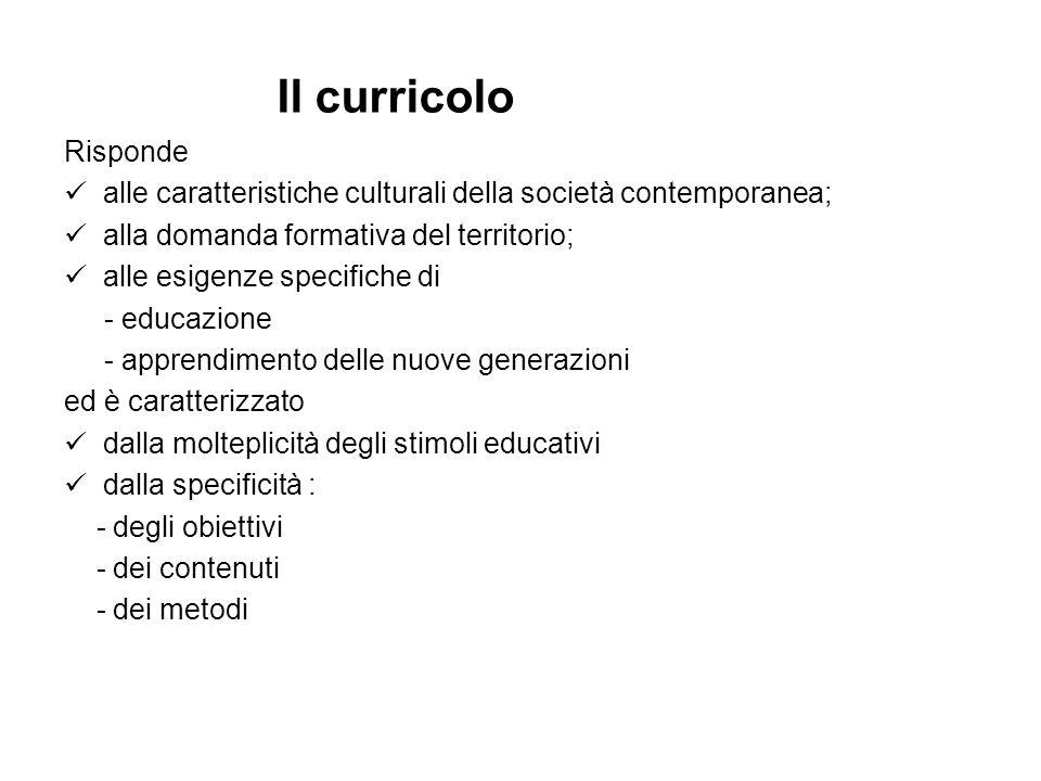 Risponde alle caratteristiche culturali della società contemporanea; alla domanda formativa del territorio; alle esigenze specifiche di - educazione -