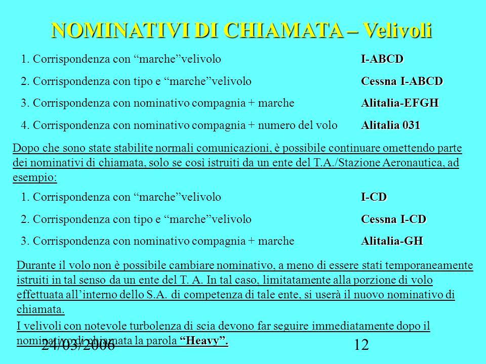 24/03/200612 NOMINATIVI DI CHIAMATA – Velivoli I-ABCD 1. Corrispondenza con marchevelivoloI-ABCD Cessna I-ABCD 2. Corrispondenza con tipo e marcheveli