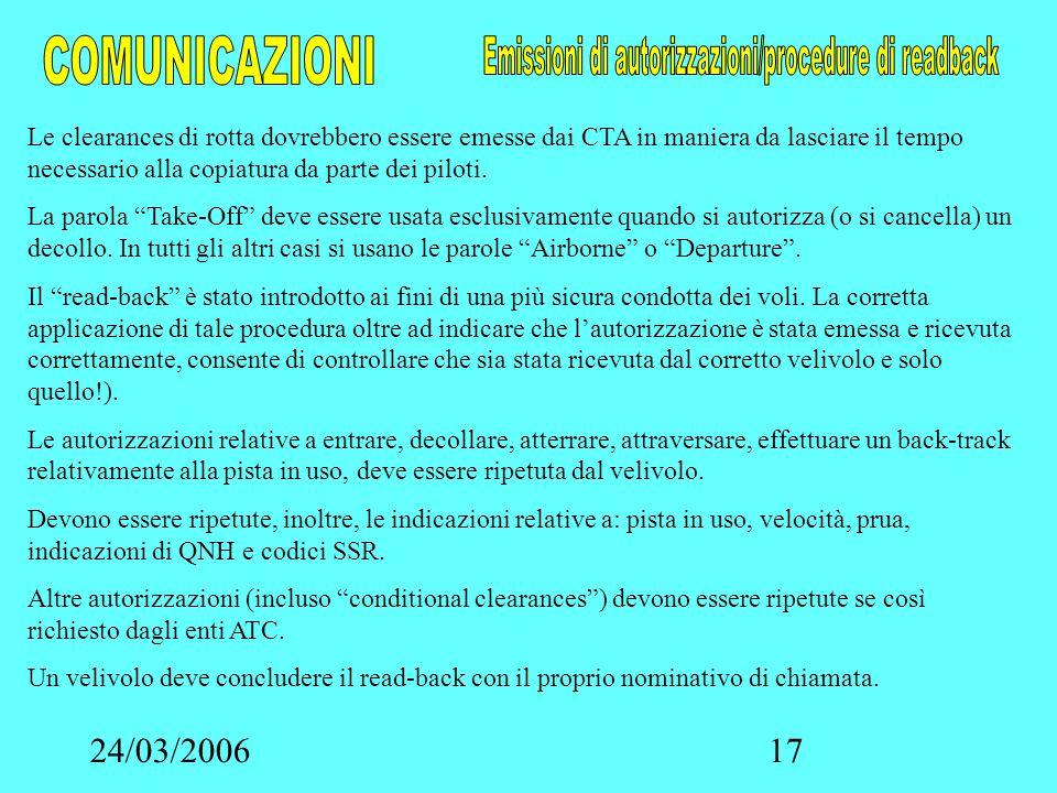 24/03/200617 Le clearances di rotta dovrebbero essere emesse dai CTA in maniera da lasciare il tempo necessario alla copiatura da parte dei piloti. La