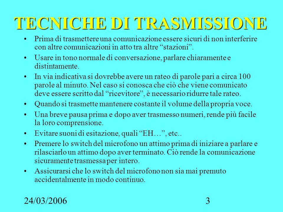 24/03/20063 TECNICHE DI TRASMISSIONE Prima di trasmettere una comunicazione essere sicuri di non interferire con altre comunicazioni in atto tra altre