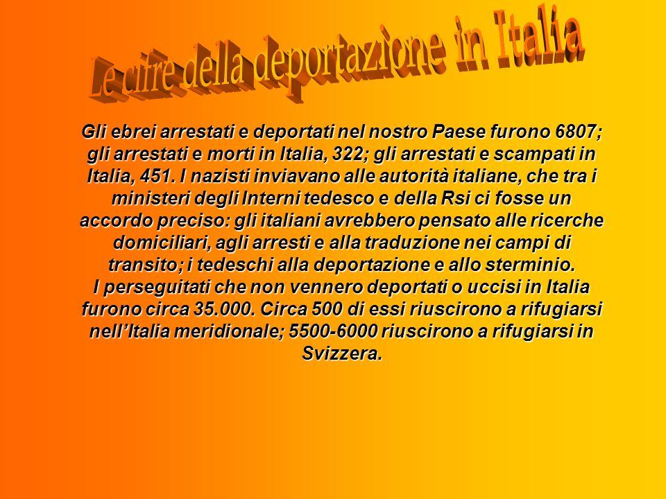Gli ebrei arrestati e deportati nel nostro Paese furono 6807; gli arrestati e morti in Italia, 322; gli arrestati e scampati in Italia, 451. I nazisti
