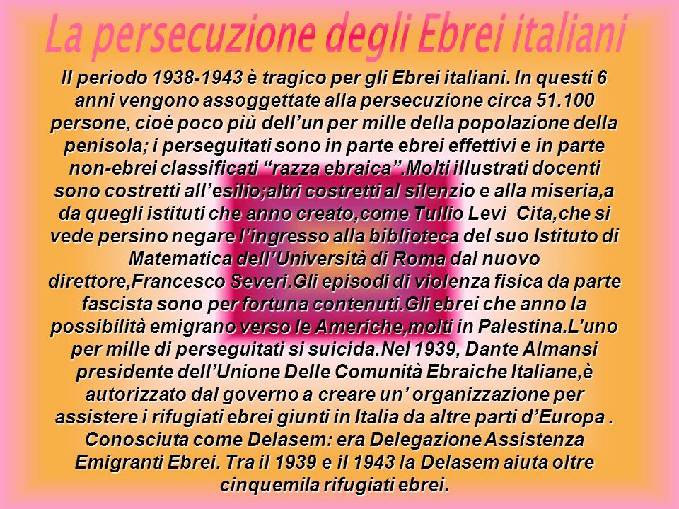 Il periodo 1938-1943 è tragico per gli Ebrei italiani. In questi 6 anni vengono assoggettate alla persecuzione circa 51.100 persone, cioè poco più del