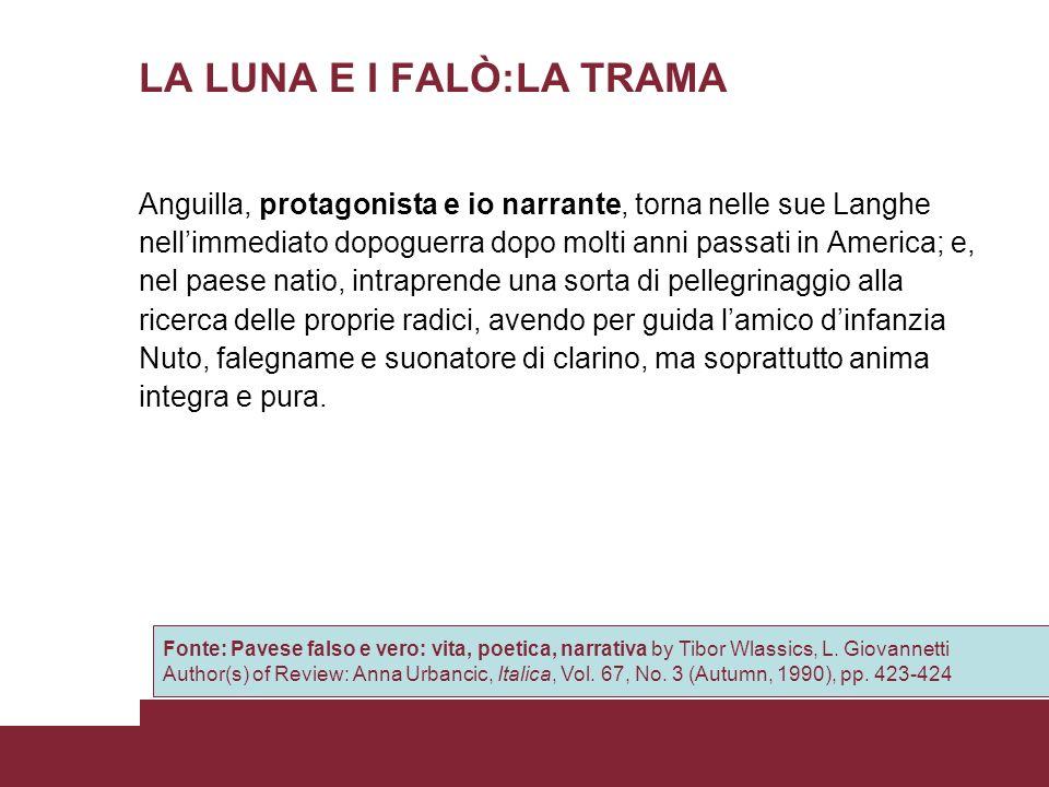 LA LUNA E I FALÒ:LA TRAMA Anguilla, protagonista e io narrante, torna nelle sue Langhe nellimmediato dopoguerra dopo molti anni passati in America; e,