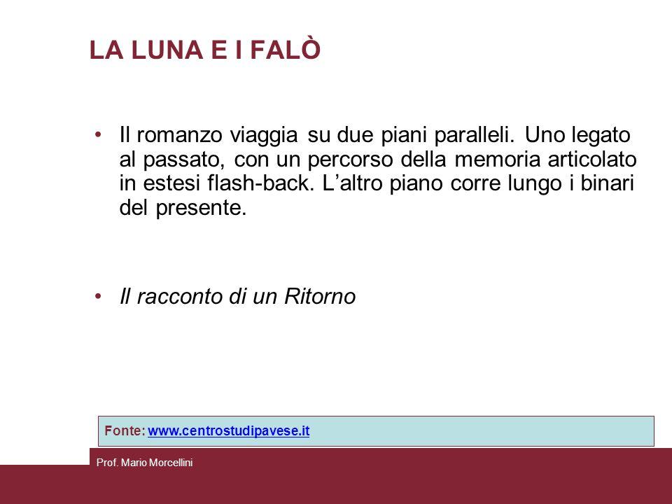 Prof. Mario Morcellini LA LUNA E I FALÒ Il romanzo viaggia su due piani paralleli. Uno legato al passato, con un percorso della memoria articolato in