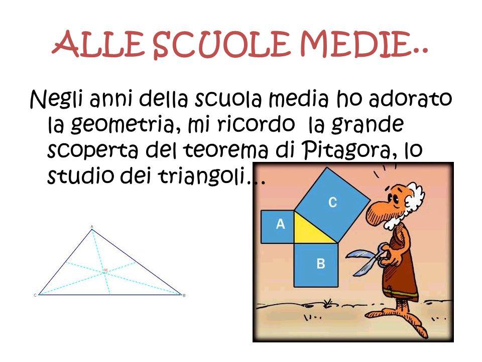 ALLE SCUOLE MEDIE.. Negli anni della scuola media ho adorato la geometria, mi ricordo la grande scoperta del teorema di Pitagora, lo studio dei triang