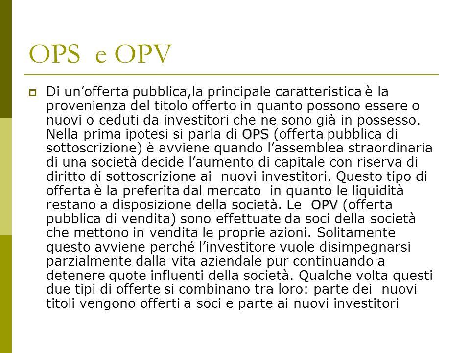 OPS e OPV OPS OPV Di unofferta pubblica,la principale caratteristica è la provenienza del titolo offerto in quanto possono essere o nuovi o ceduti da investitori che ne sono già in possesso.