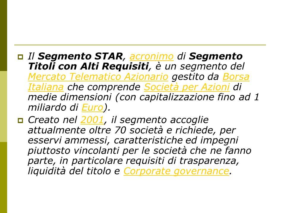 Il Segmento STAR, acronimo di Segmento Titoli con Alti Requisiti, è un segmento del Mercato Telematico Azionario gestito da Borsa Italiana che comprende Società per Azioni di medie dimensioni (con capitalizzazione fino ad 1 miliardo di Euro).acronimo Mercato Telematico AzionarioBorsa ItalianaSocietà per AzioniEuro Creato nel 2001, il segmento accoglie attualmente oltre 70 società e richiede, per esservi ammessi, caratteristiche ed impegni piuttosto vincolanti per le società che ne fanno parte, in particolare requisiti di trasparenza, liquidità del titolo e Corporate governance.2001Corporate governance
