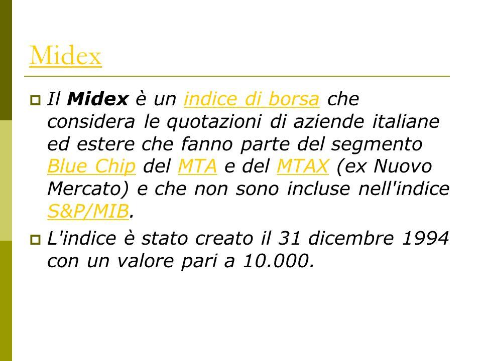 Midex Il Midex è un indice di borsa che considera le quotazioni di aziende italiane ed estere che fanno parte del segmento Blue Chip del MTA e del MTAX (ex Nuovo Mercato) e che non sono incluse nell indice S&P/MIB.indice di borsa Blue ChipMTAMTAX S&P/MIB L indice è stato creato il 31 dicembre 1994 con un valore pari a 10.000.