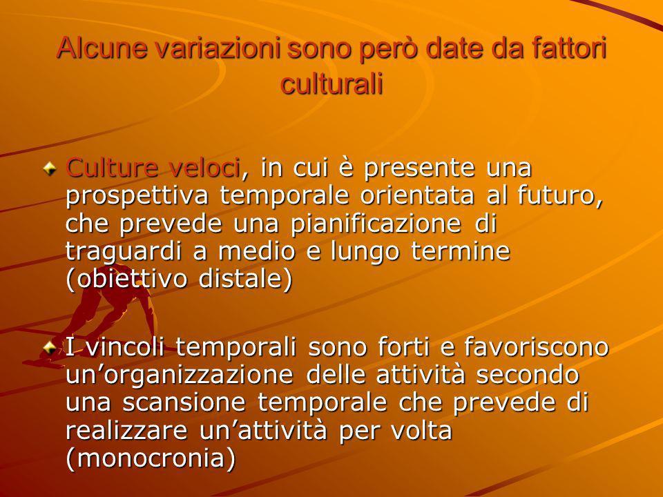 Alcune variazioni sono però date da fattori culturali Culture veloci, in cui è presente una prospettiva temporale orientata al futuro, che prevede una