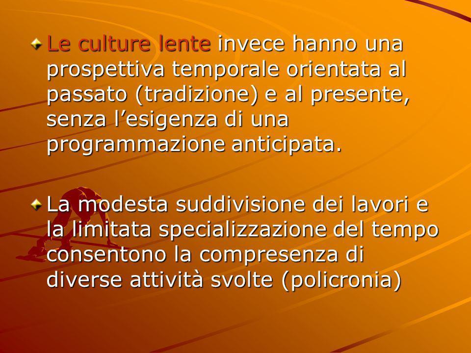Le culture lente invece hanno una prospettiva temporale orientata al passato (tradizione) e al presente, senza lesigenza di una programmazione anticip