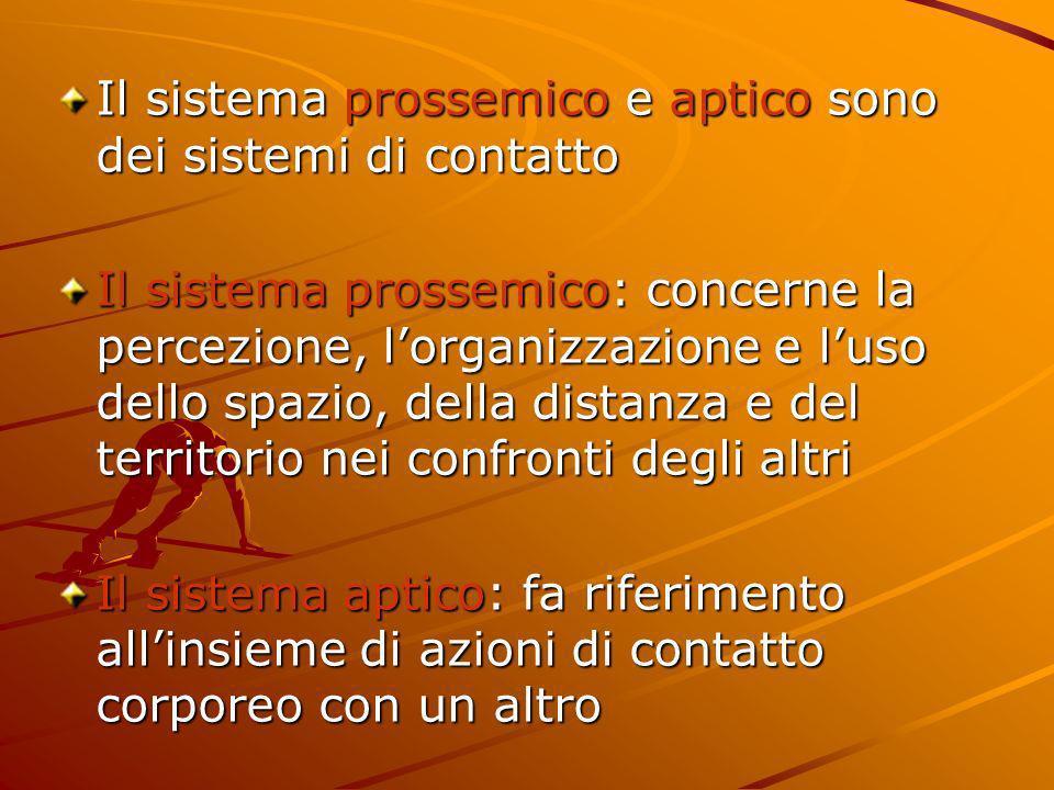 Il sistema prossemico e aptico sono dei sistemi di contatto Il sistema prossemico: concerne la percezione, lorganizzazione e luso dello spazio, della