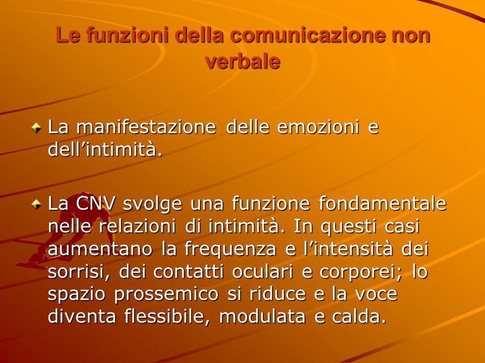 Le funzioni della comunicazione non verbale La manifestazione delle emozioni e dellintimità. La CNV svolge una funzione fondamentale nelle relazioni d