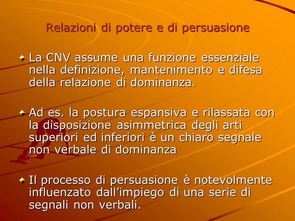 Relazioni di potere e di persuasione La CNV assume una funzione essenziale nella definizione, mantenimento e difesa della relazione di dominanza. Ad e