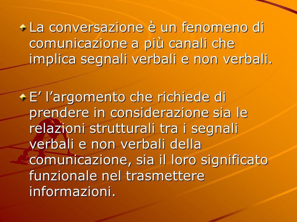 La conversazione è un fenomeno di comunicazione a più canali che implica segnali verbali e non verbali. E largomento che richiede di prendere in consi