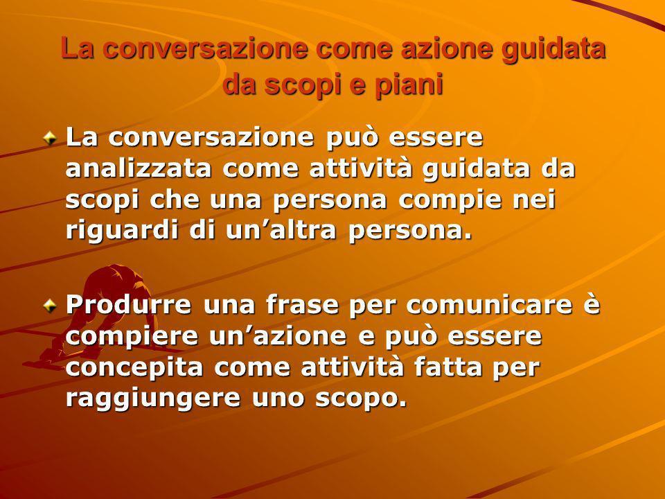 La conversazione come azione guidata da scopi e piani La conversazione può essere analizzata come attività guidata da scopi che una persona compie nei