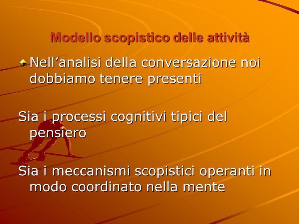 Modello scopistico delle attività Nellanalisi della conversazione noi dobbiamo tenere presenti Sia i processi cognitivi tipici del pensiero Sia i mecc