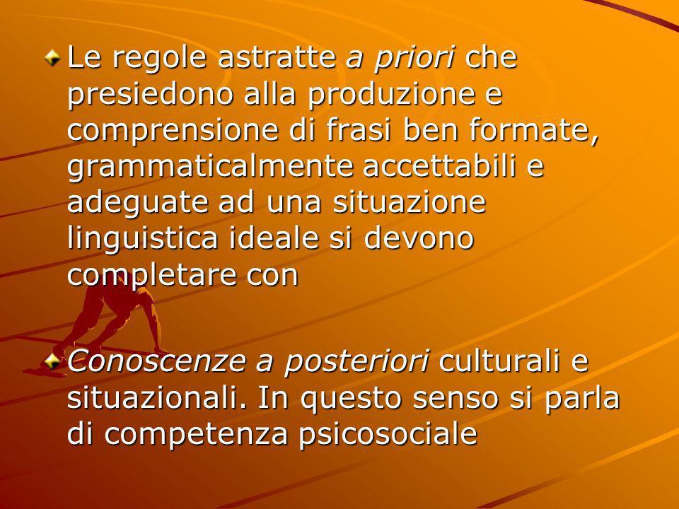 Le regole astratte a priori che presiedono alla produzione e comprensione di frasi ben formate, grammaticalmente accettabili e adeguate ad una situazi