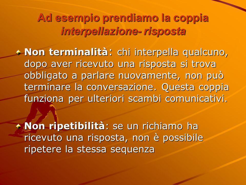 Ad esempio prendiamo la coppia interpellazione- risposta Non terminalità : chi interpella qualcuno, dopo aver ricevuto una risposta si trova obbligato