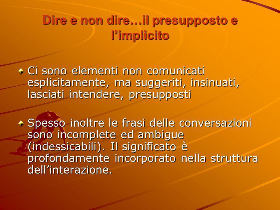 Dire e non dire…il presupposto e limplicito Ci sono elementi non comunicati esplicitamente, ma suggeriti, insinuati, lasciati intendere, presupposti S
