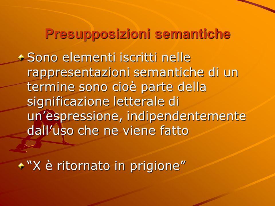 Presupposizioni semantiche Sono elementi iscritti nelle rappresentazioni semantiche di un termine sono cioè parte della significazione letterale di un