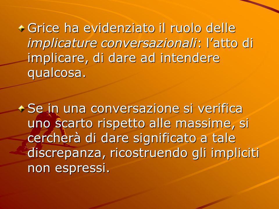 Grice ha evidenziato il ruolo delle implicature conversazionali: latto di implicare, di dare ad intendere qualcosa. Se in una conversazione si verific
