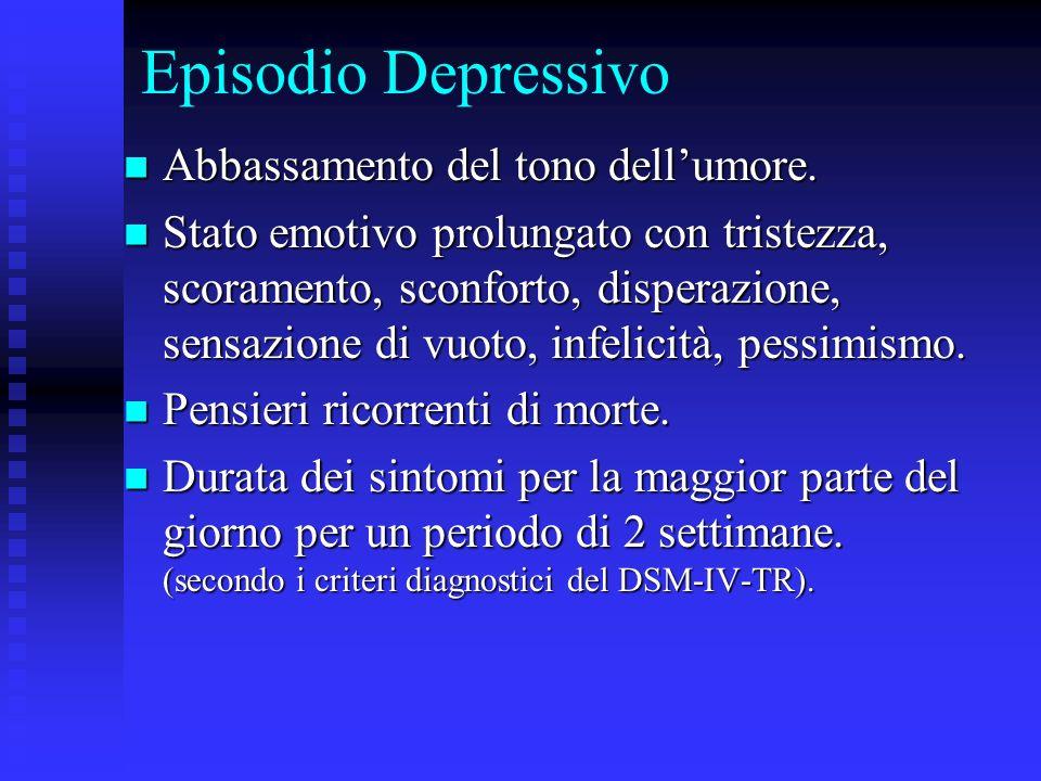 Episodio Depressivo Abbassamento del tono dellumore. Abbassamento del tono dellumore. Stato emotivo prolungato con tristezza, scoramento, sconforto, d
