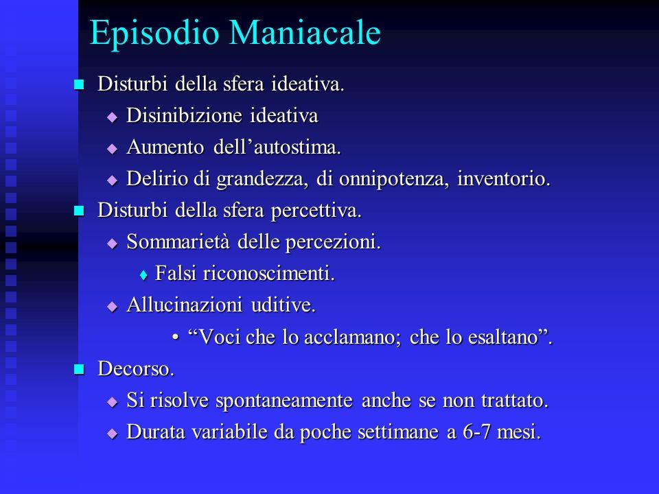 Episodio Maniacale Disturbi della sfera ideativa. Disturbi della sfera ideativa. Disinibizione ideativa Disinibizione ideativa Aumento dellautostima.