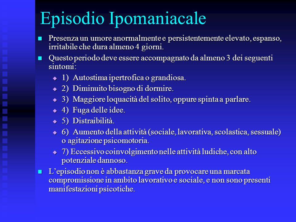 Episodio Ipomaniacale Presenza un umore anormalmente e persistentemente elevato, espanso, irritabile che dura almeno 4 giorni. Presenza un umore anorm