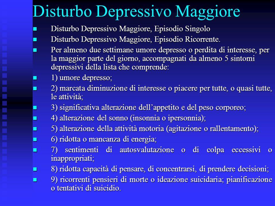 Disturbo Depressivo Maggiore Disturbo Depressivo Maggiore, Episodio Singolo Disturbo Depressivo Maggiore, Episodio Singolo Disturbo Depressivo Maggior