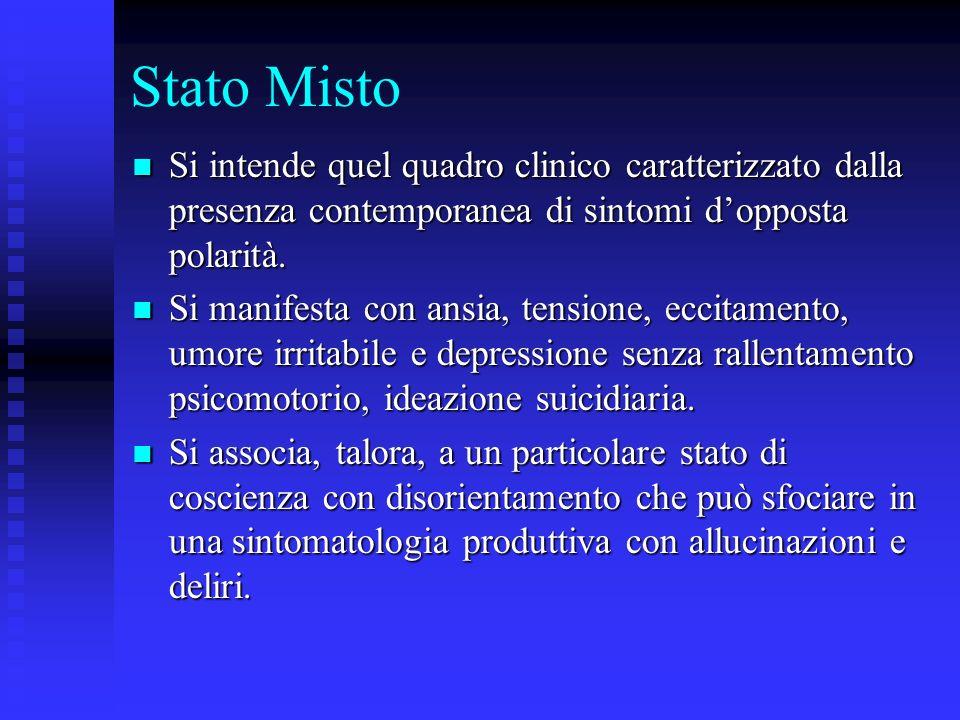 Stato Misto Si intende quel quadro clinico caratterizzato dalla presenza contemporanea di sintomi dopposta polarità. Si intende quel quadro clinico ca